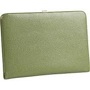 Budd Leather 551856L-39 Framed Lizard Print Calf Skin Photo Case - Lime Green