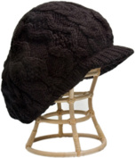 Nirvanna Designs CH401 Black Cable Beret Cap with Fleece Band