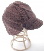Nirvanna Designs CH503 Flat Cable Brim Hat with Fleece Lining - Dark Brown