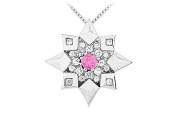 FineJewelryVault UBPD1865W14DPS-101 Pink Sapphire and Diamond Star Pendant : 14K White Gold - 0.66 CT TGW