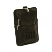 Piel Leather 2873-BLK All In One Golf Pouch- Black