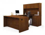Bestar 60876-1663 Embassy U-shaped worksation kit including assembled pedestals in Tuscany Brown finish