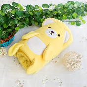 Blancho Bedding TB-BLK015-YELLOW-42.5by59.1 Happy Bear - Yellow Embroidered Applique Coral Fleece Baby Throw Blanket