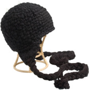 Nirvanna Designs CH306 Black Long Tassel Earflap Hat