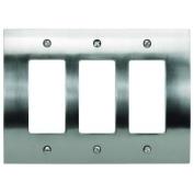 Atlas Homewares PHPTR Rocker Switch Zephyr Switch Plates Triple ;Brushed Nickel