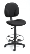 Boss Fully Adjustable Drafting Stool With Foot Ring - B1690 - Black