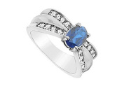 FineJewelryVault UBUK12886W10CZS-118 Diffuse Sapphire and Cubic Zirconia Ring : 10K White Gold - 2.00 CT TGW - Size