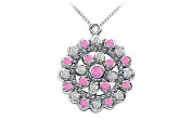 FineJewelryVault UBPD393W14DPS-101 Pink Sapphire and Diamond Flower Pendant : 14K White Gold - 0.50 CT TGW