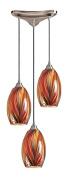 Elk Lights 517-3M 3 Light Pendant In Satin Nickel And Multi Glass