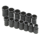 SK HAND TOOLS 803 13Pc .425 Inch Drive Turbo Socket Set .425 Inch-.75 Inch 10-19Mm