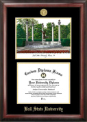 Campus Images IN985LGED Ball State University Gold embossed diploma frame with Campus Images lithograph