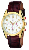 Charles-Hubert Paris 3895-G Mens Gold-Plated Stainless Steel White Dial Chronograph Watch
