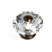 JVJHardware 36812 Pure Elegance 60mm - 2.38 in. - Diamond Cut 31 Percent Leaded Crystal Knob - Old World Bronze