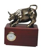 Bluestone Designs Z149BS Small Wall Street Bull with Clock - Bronze