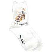 K Bell 85164 The Girls Socks-Quilting Girl -White