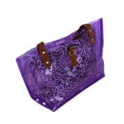 Blancho Bedding ZL618-PURPLE Lucky Purple Leopard Double Handle Leatherette Satchel Bag Handbag Purse Casual Styling