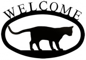 Village Wrought Iron WEL-247-S Welcome Sign-Plaque - Walking Cat