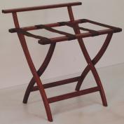 Wooden Mallet LR4-MHBRN WallSaver Luggage Rack in Mahogany with Brown Webbing