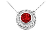 FineJewelryVault UBPD2510W14DR-101 Ruby and Diamond Pendant : 14K White Gold - 0.66 CT TGW