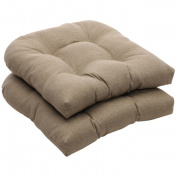 Pillow Perfect 449876 Outdoor Taupe Textured Solid Wicker Seat Cushions - Set of 2
