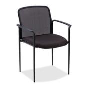 Lorell(R) Reception Side Chair With Arms, 80cm .H x 60cm .W x 60cm .D, Black