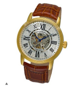 Stuhrling Original 1077.3335K2 Mens Classic Delphi Venezia Automatic Skeleton with Gold Tone Case on Brown Leather Strap and Silver Dial