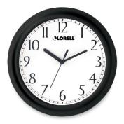 Lorell LLR60987 Wall Clock- 9in.- Arabic Numerals- White Dial-Black Frame
