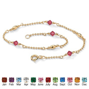 PalmBeach Jewelry 5062507 Simulated Birthstone 14k Yellow Gold Over Sterling Silver Beaded Ankle Bracelet 11 July - Simulated Ruby