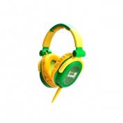 FULL-RANGE HEADPHONES DESIGNED FOR DJS W/SWIVEL CUP & NEODYMIUM MAGNET & REMOVABLE CORD GREEN & YELL