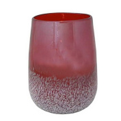 Flipo Group Limited FLA-SPECGLA-CR Speckled Glass Hurricane and Flameless Candle with Timer - Cranberry