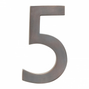 Architectural Mailboxes 3582DC Number 5 Solid Cast Brass 4 inch Floating House Number Dark Aged Copper 5