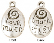 Blue Moon Silver Plated Metal Charms-Love Much-Laugh Often 5/Pkg