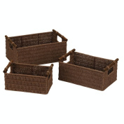 Household Essential ML-7050 Paper Rope Basket Stained Set of 3 - 1 Large 15.2cm . x 36.8cm . x 24.1cm . 1 Medium 14cm . x 31.8cm . x 20.3cm . and 1 Small 12.7cm . x 26.7cm . x6.5