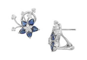 FineJewelryVault UB4A170844-101 Blue Sapphire and Diamond Earrings : 14K White Gold - 2.50 CT TGW