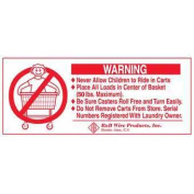 R& B Wire 902 Metal Laundry Cart Basket Warning Sign