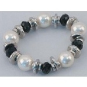IWGAC 049-40141 Silver Tone Necklace with Black & White Beads