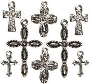 Cousin 150096 Jewellery Basics Metal Charms 8-Pkg-Silver-Black Crosses