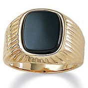 PalmBeach Jewelry 9992_13 Mens Genuine Onyx 14k Yellow Gold-Plated Ribbed Ring - Size 13