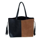Blancho Bedding JY0253-BLACK Confident Elegance . Black & Brown Double Handle Leatherette Bag Handbag Purse with Tassels