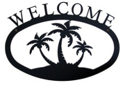 Village Wrought Iron WEL-139-S Small Welcome Sign-Plaque - Palm Trees