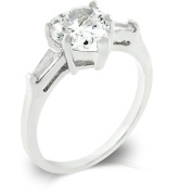 J Goodin R07779R-C01-09 White Gold Rhodium Bonded Anniversary Ring Featuring Prong Set Heart Cut Clear CZ and Bar Set Clear Baguettes to Finish the Triplet in Silvertone