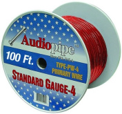 AudioPipe PW4100RED 100 ft. Roll 4 Gauge Power Wire - Red