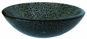 Novatto TID-178 FESSO Black with Clear Crackles Glass Vessel Sink 16.5-Inch Diameter Black Clear