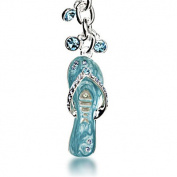 Alexander Kalifano SKC-065 Sapphire Flip Flop Keychain Made with. Crystals