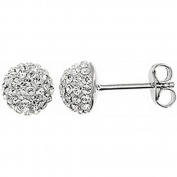 Doma Jewellery DJS01740 Sterling Silver Earrings with Clear Crystals - April Birthstone