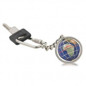 Alexander Kalifano LKCS-CB Gemstone Globe Bright Silver Keychain - Caribbean Blue Ocean