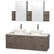 Wyndham Collection Amare 150cm Double Bathroom Vanity in Grey Oak with White Man-Made Stone Top with Bone Porcelain Sinks, and Medicine Cabinets