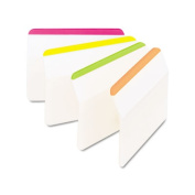 Post-it 686A-1BB Durable Hanging File Tabs- 2 x 1 1/2- Striped- Asst. Fluorescent Colours- 24/Pack