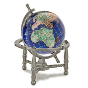 Alexander Kalifano GNT80AS-CB 7.6cm Gemstone Globe with Antique Silver Nautical 3-Leg Stand - Caribbean Blue