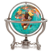 Alexander Kalifano GT110AS-BB 4 in. Gemstone Globe with Antique Silver Commander 3-Leg Table Stand - Bahama Blue Ocean